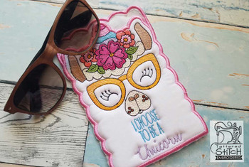 "Llamacorn SUN Glasses Case - Fits a 5x7"" Hoop - Instant Downloadable Machine Embroidery"