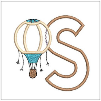 "Hot Air Balloon ABC's - S - Fits in a 4x4"" Hoop - Applique - Instant Downloadable Machine Embroidery"