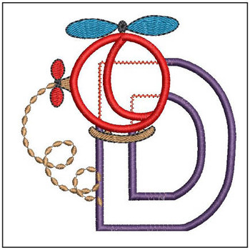 "Helicopter ABC's - D - Fits in a 4x4"" Hoop - Applique - Instant Downloadable Machine Embroidery"