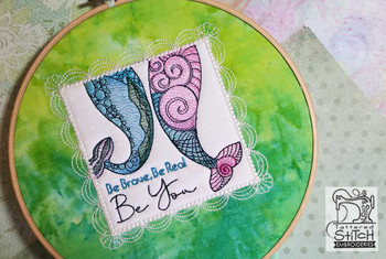 "Mermaid Brave Quilt Block - Fits a 5x7"" & 8x8"" Hoop  - Instant Downloadable Machine Embroidery"