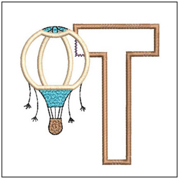 "Hot Air Balloon ABC's - T - Fits in a 4x4"" Hoop - Applique - Instant Downloadable Machine Embroidery"