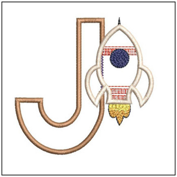 "Rocket Applique ABC's - J - Fits in a 4x4"" Hoop - Applique - Instant Downloadable Machine Embroidery"