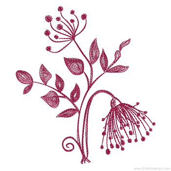 Floral Silhouette 1 Redwork - Embroidery Designs