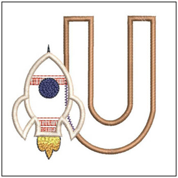 "Rocket Applique ABC's - U - Fits in a 4x4"" Hoop - Applique - Instant Downloadable Machine Embroidery"