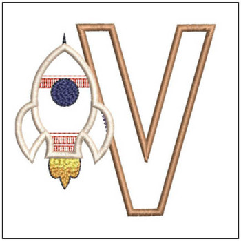 "Rocket Applique ABC's - V - Fits in a 4x4"" Hoop - Applique - Instant Downloadable Machine Embroidery"