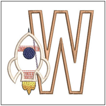 "Rocket Applique ABC's - W - Fits in a 4x4"" Hoop - Applique - Instant Downloadable Machine Embroidery"