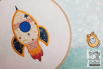 "Rocket Applique - Fits in a 4x4 & 5x7"" Hoop - Instant Downloadable Machine Embroidery"