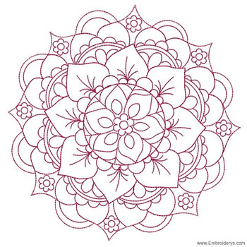 Mandala Medallion Redwork - Embroidery Designs