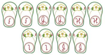 Flip Flop Font - F-J - Embroidery Designs