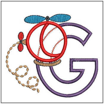 "Helicopter ABC's - G - Fits in a 4x4"" Hoop - Applique - Instant Downloadable Machine Embroidery"
