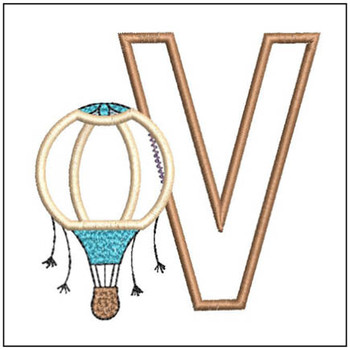 "Hot Air Balloon ABC's - V - Fits in a 4x4"" Hoop - Applique - Instant Downloadable Machine Embroidery"