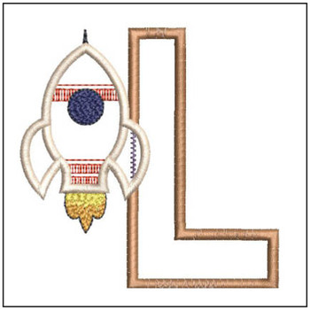 "Rocket Applique ABC's - L - Fits in a 4x4"" Hoop - Applique - Instant Downloadable Machine Embroidery"