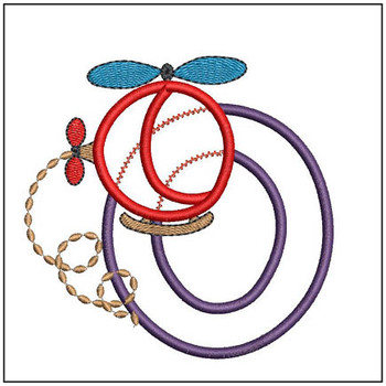 "Helicopter ABC's -O - Fits in a 4x4"" Hoop - Applique - Instant Downloadable Machine Embroidery"