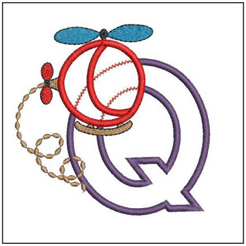 "Helicopter ABC's -Q - Fits in a 4x4"" Hoop - Applique - Instant Downloadable Machine Embroidery"