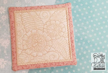 """Peony Mug Rug- Fits a 5x7"""" Hoop  - In the Hoop - Continuous Line - Instant Downloadable Machine Embroidery"""