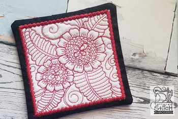 "Peony Mug Rug- Fits a 5x7"" Hoop  - In the Hoop - Continuous Line - Instant Downloadable Machine Embroidery"