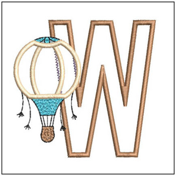 "Hot Air Balloon ABC's - W - Fits in a 4x4"" Hoop - Applique - Instant Downloadable Machine Embroidery"