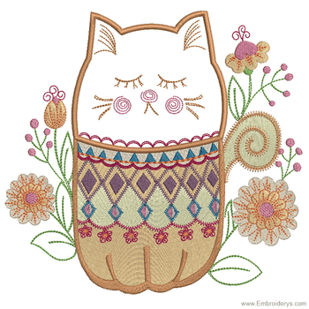 Persian Kitty Applique - Embroidery Designs
