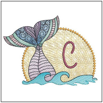 Mermaid ABC's - C - Machine Embroidery Design