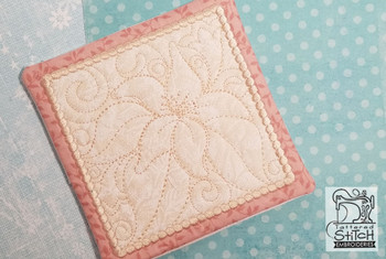 """Lily Mug Rug- Fits a 5x7"""" Hoop  - In the Hoop - Continuous Line - Instant Downloadable Machine Embroidery"""