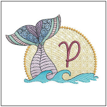 Mermaid ABC's - P - Machine Embroidery Design
