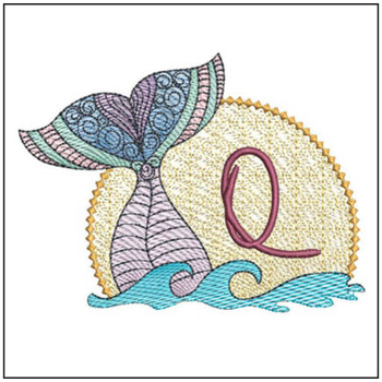 Mermaid ABC's - Q - Machine Embroidery Design