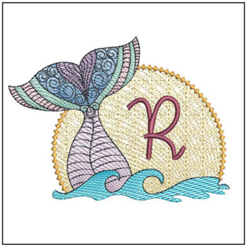"Mermaid ABC's - R - Fits in a 5x7"" Hoop - Instant Downloadable Machine Embroidery"