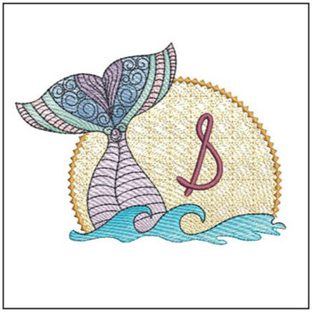 Mermaid ABC's - S - Machine Embroidery Design