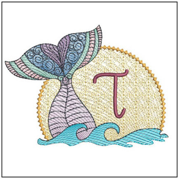 "Mermaid ABC's - T - Fits in a 5x7"" Hoop - Instant Downloadable Machine Embroidery"
