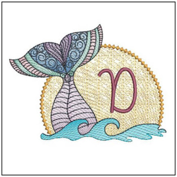 Mermaid ABC's - D - Machine Embroidery Design