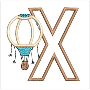 "Hot Air Balloon ABC's - X - Fits in a 4x4"" Hoop - Applique - Instant Downloadable Machine Embroidery"