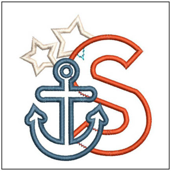 "Anchor Applique ABC's - S - Fits in a 4x4"" Hoop - Applique - Instant Downloadable Machine Embroidery"