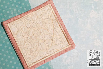 "Jacobean Mug Rug- Fits a 5x7"" Hoop  - In the Hoop - Continuous Line - Instant Downloadable Machine Embroidery"