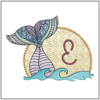 Mermaid ABC's - E - Machine Embroidery Design