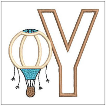 "Hot Air Balloon ABC's - Y - Fits in a 4x4"" Hoop - Applique - Instant Downloadable Machine Embroidery"