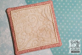 "Rose Mug Rug- Fits a 5x7"" Hoop  - In the Hoop - Continuous Line - Instant Downloadable Machine Embroidery"
