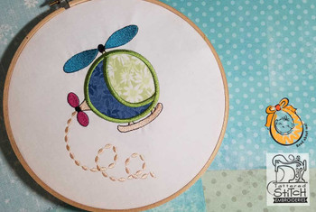 "Helicopter Applique - Fits in a 4x4 & 5x7"" Hoop - Instant Downloadable Machine Embroidery"