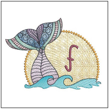 Mermaid ABC's - F - Machine Embroidery Design