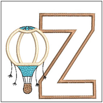 "Hot Air Balloon ABC's - Z - Fits in a 4x4"" Hoop - Applique - Instant Downloadable Machine Embroidery"