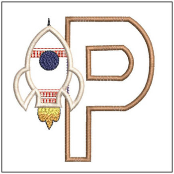 "Rocket Applique ABC's - P - Fits in a 4x4"" Hoop - Applique - Instant Downloadable Machine Embroidery"