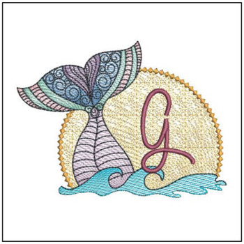 "Mermaid ABC's - G - Fits in a 5x7"" Hoop - Instant Downloadable Machine Embroidery"