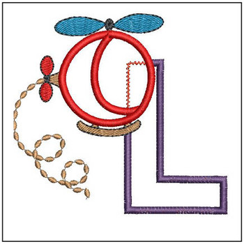 "Helicopter ABC's - L - Fits in a 4x4"" Hoop - Applique - Instant Downloadable Machine Embroidery"