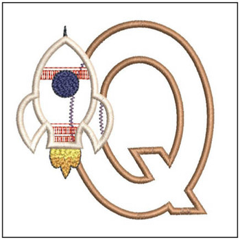 "Rocket Applique ABC's - Q - Fits in a 4x4"" Hoop - Applique - Instant Downloadable Machine Embroidery"