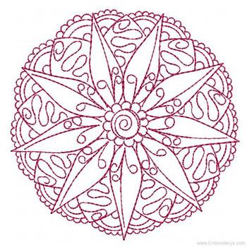Mandala Medallion Redwork 2 - Embroidery Designs