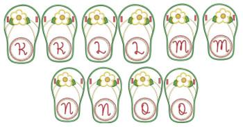 Flip Flop Font - K-O - Embroidery Designs