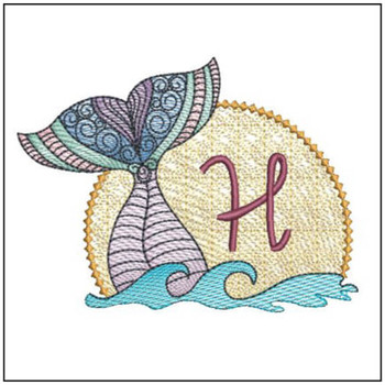 Mermaid ABC's - H - Machine Embroidery Design
