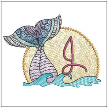 "Mermaid ABC's - J - Fits in a 5x7"" Hoop - Instant Downloadable Machine Embroidery"