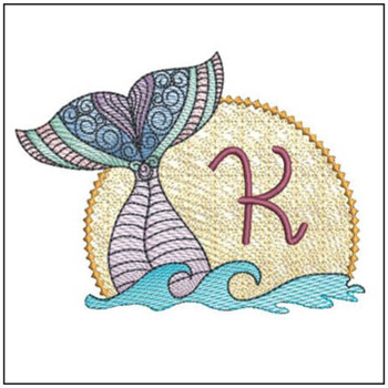 Mermaid ABC's - K - Machine Embroidery Design