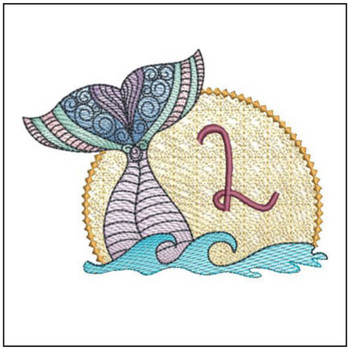 Mermaid ABC's - L - Machine Embroidery Design