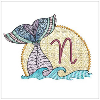 "Mermaid ABC's - N - Fits in a 5x7"" Hoop - Instant Downloadable Machine Embroidery"